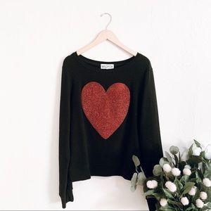 Wildfox Glitter Heart Sweater